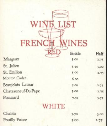 Portion of Elmwood Plantation's wine list.