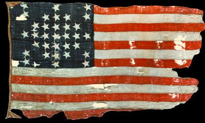 """""""Storm Flag"""" flown over Fort Sumter, 14-April-1861 (NPS image)"""
