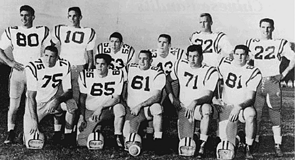 "The ""Chinese Bandits"" defense of the 1958 national champion LSU Tiger football team. (Clarion Herald photo)"