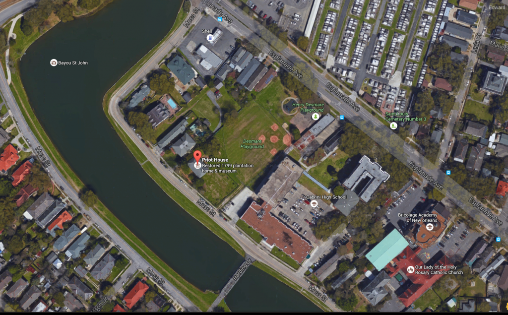 Google Earth view of Esplanade Aveue, Moss St, and Bayou St. John.