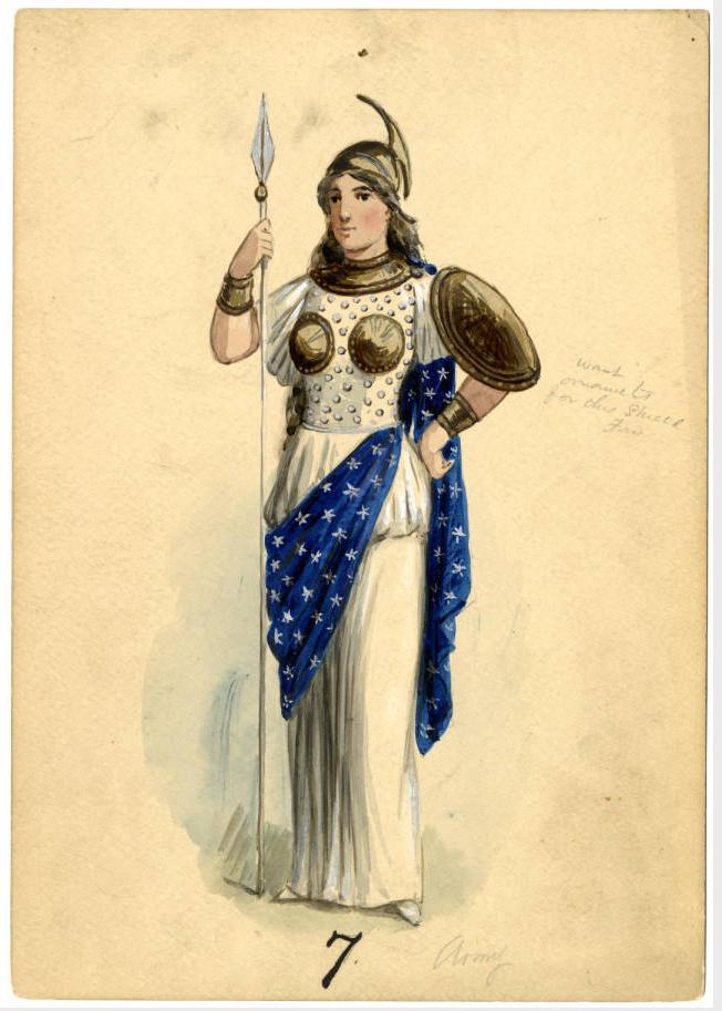 Costume design from Krewe of Proteus 1899 parade. Theme: E. Pluribus Unum.