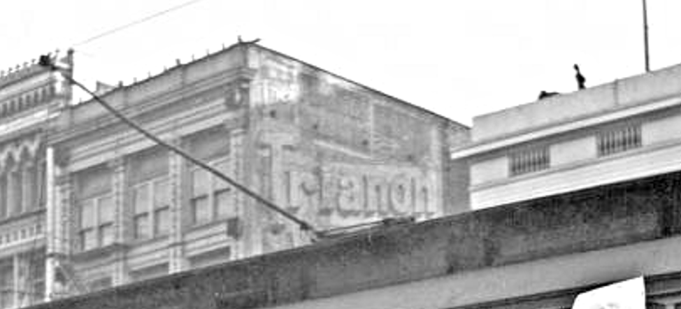 "Zoom of Mendes photo from 4-Mar-1919, showing ""Trianon"" ad."