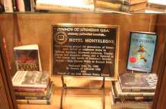 Plaque placed at the hotel in 2010 by the Friends of Libraries, commemorating Hotel Monteleone's rich literary heritage (Steve Faure photo)