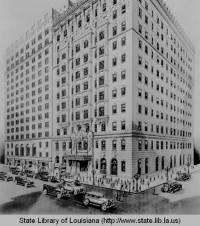 Drawing of Hotel Monteleone in the 1930s, from a collection of works sponsored by the WPA (courtesy State Library of Louisiana)