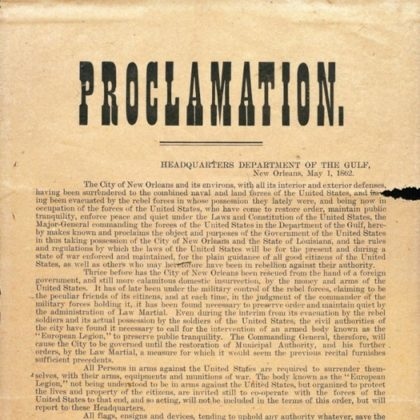 Proclamation_Occupation_Martial_Law_New_Orleans_1862 Benjamin Butler