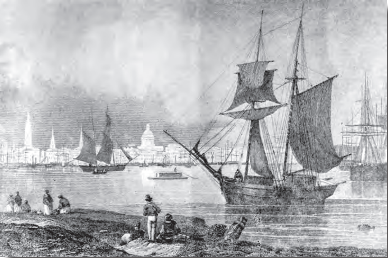 Engraving of the New Orleans Riverfront, antebellum, circa 1840
