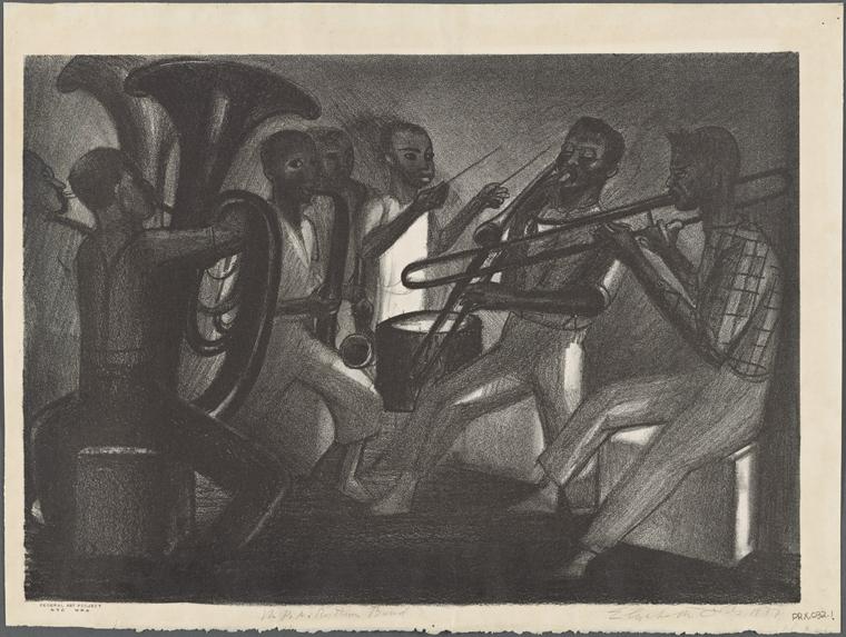 """""""WPA Rhythm Band"""" – art by Elizabeth Olds (via NYPL)"""