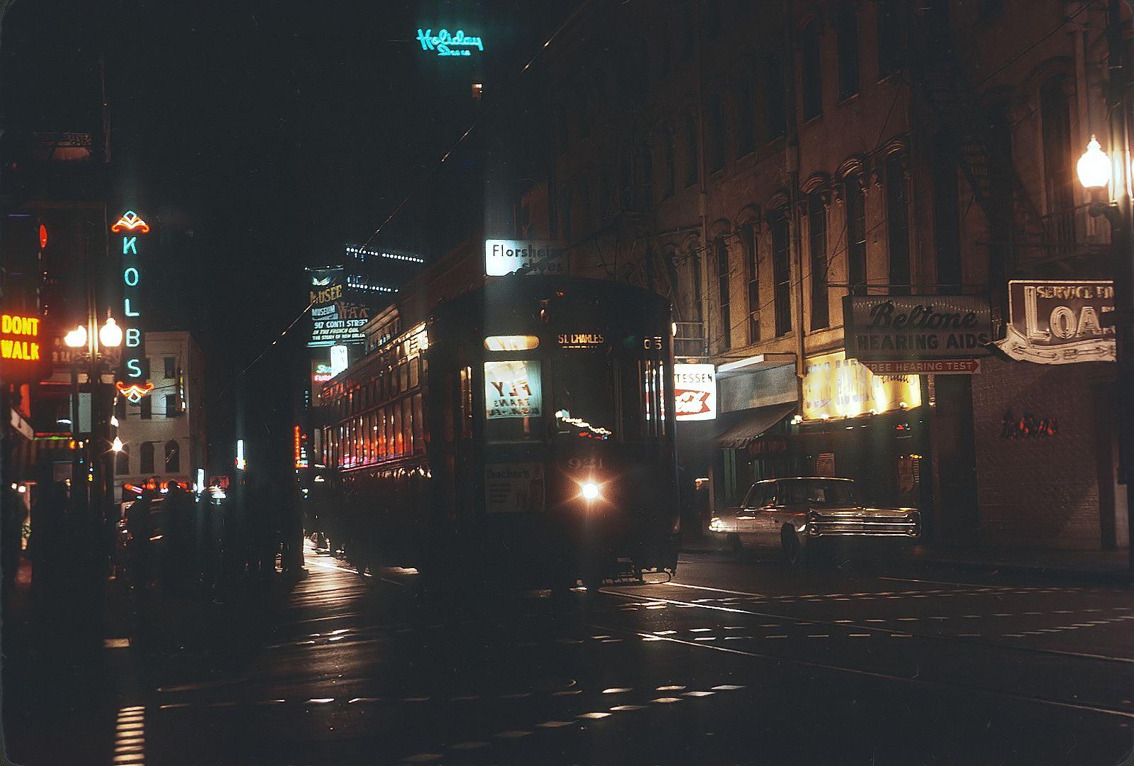 NOPSI 921 Arch Roof – Nighttime on St. Charles Avenue, 1971 #NOLAstreetcars #StreetcarMonday