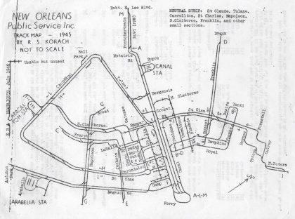 1945 streetcar track map
