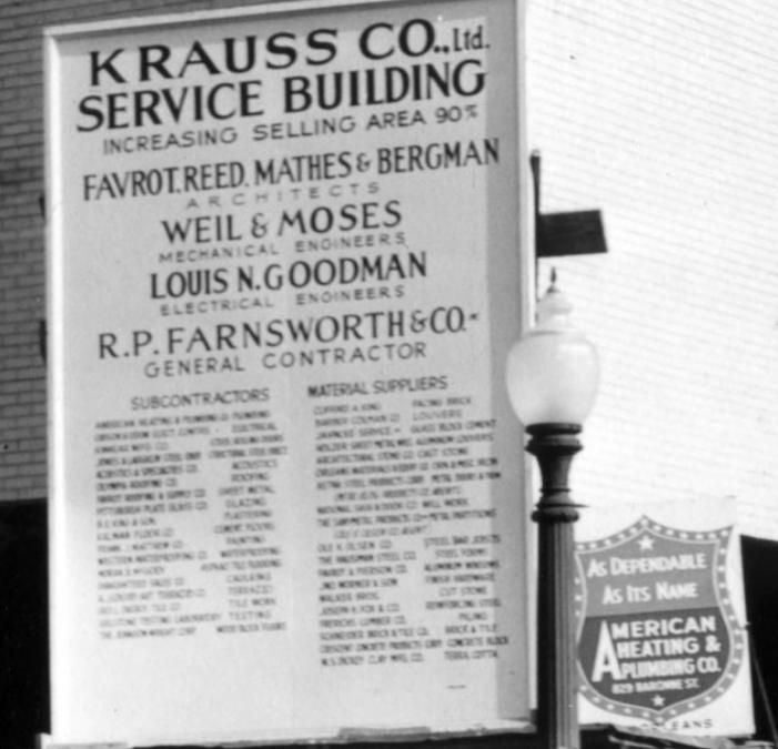 Krauss Service Building along Basin Street, 1951