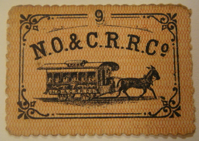 Streetcar Ticket – New Orleans & Carrollton Railroad 1868