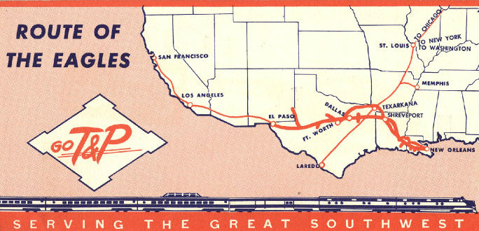 Texas and Pacific's Route of the Eagles in the 1950s #TrainThursday