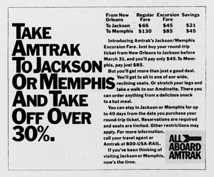 Amtrak Northbound Advertisement 1984