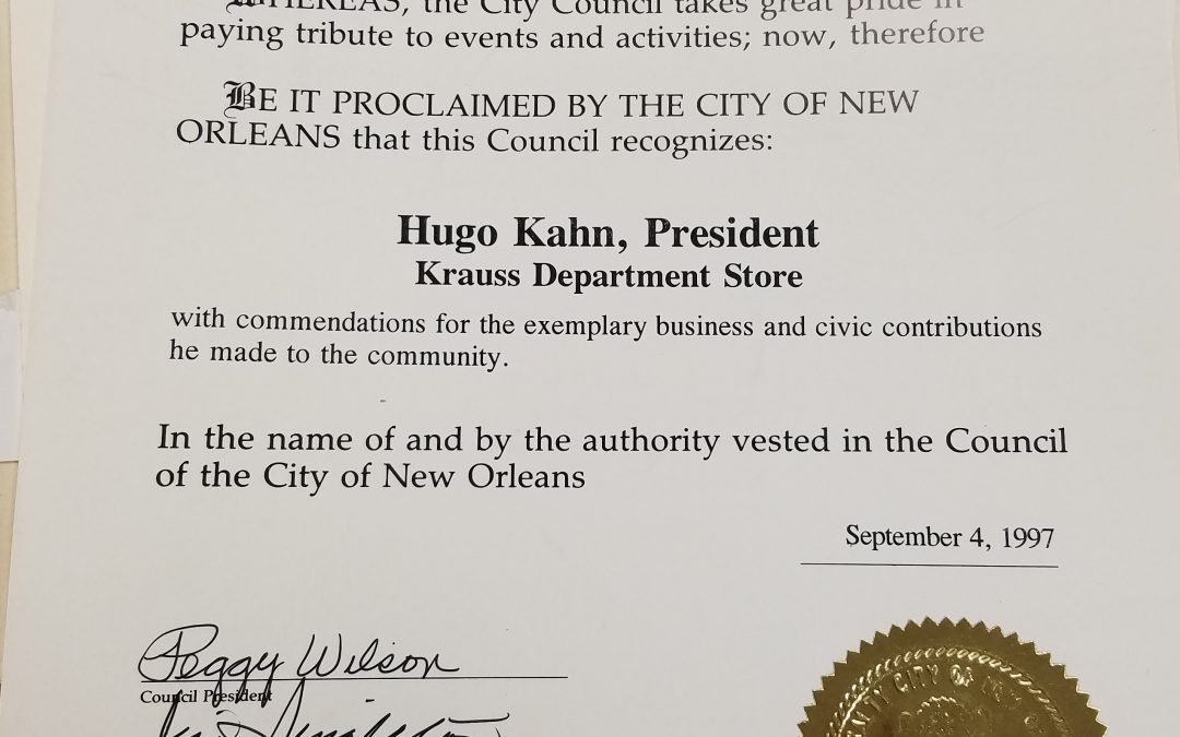 Hugo Kahn City Council Proclamation