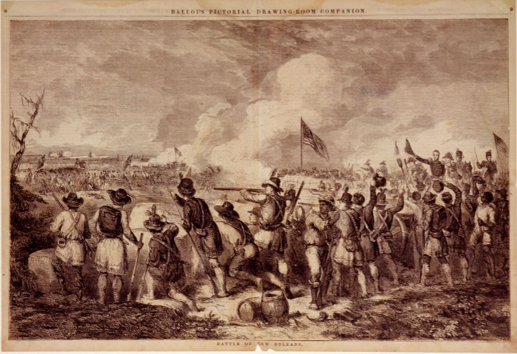 Ballou Battle of New Orleans 1855 Drawing