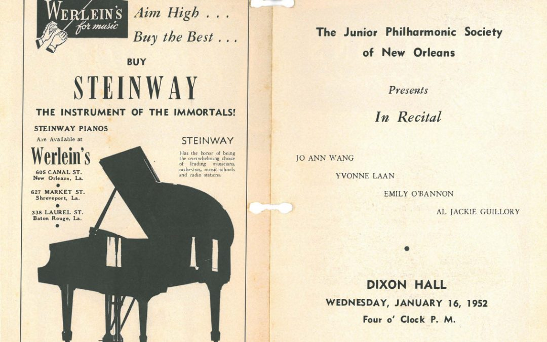 Junior Philharmonic Society New Orleans concert program