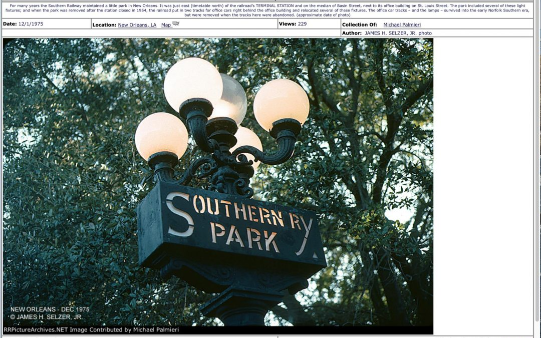 Southern Railway Park in Faubourg Treme